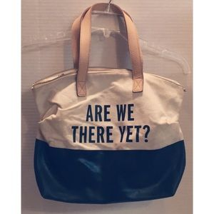 """KATE SPADE """"Are We There Yet"""" leather Canvas TOTE"""